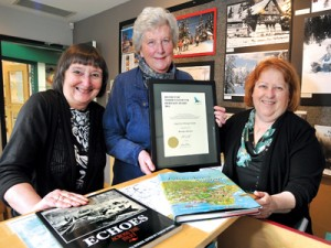 Lorna Anderson, Janet Pavlik and Gail Hanlon with Heritage Award